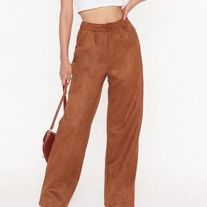 High Waisted Vintage Brown Suede Look Pants 8